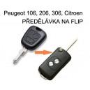 KLÍČ Peugeot / CITROEN PŘEDĚLÁVKA NA FLIP